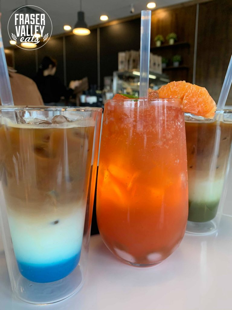 Three drinks from Egg Bomb in Langley