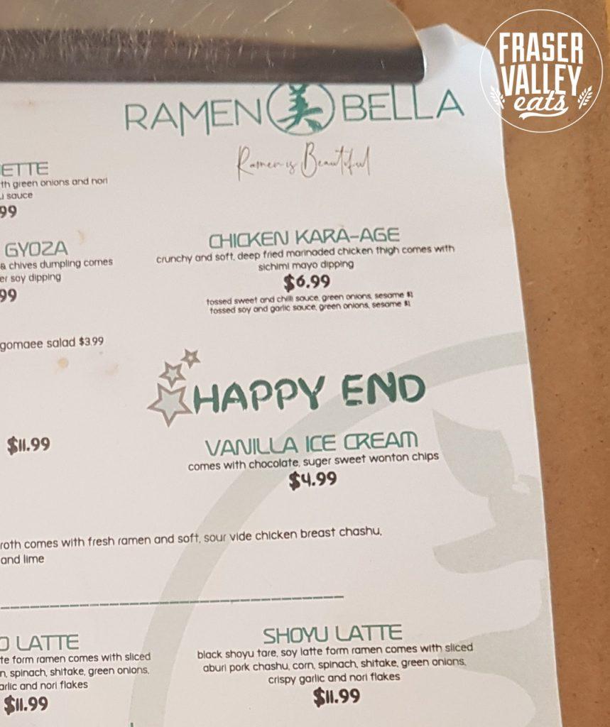 Ramen Bella menu