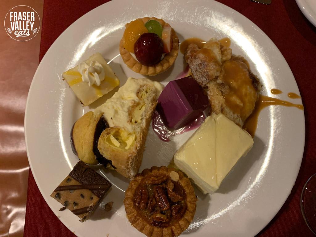 A dessert selection arranged on a plate