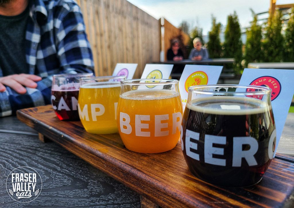 A colourful flight of beer from Camp Beer Co.