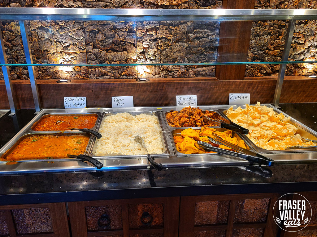 A selection of dishes in warming trays at An Indian Affair Restaurant