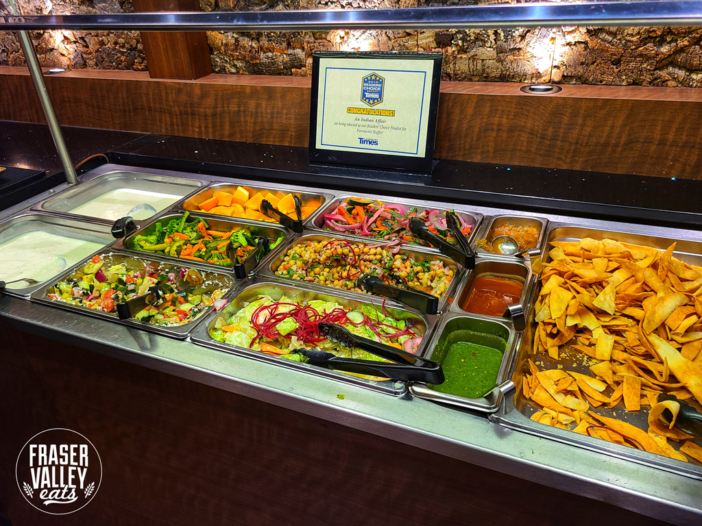 Lunch buffet selection and an award showing that An Indian Affair was a finalist for the Reader's Choice Best Lunch Buffet in the Langley Times