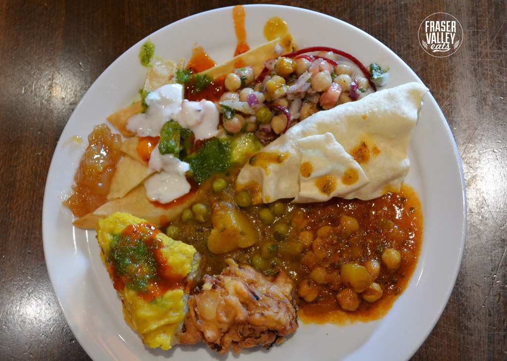 A plate of selections from the lunch buffet at An Indian Affair's Langley restaurant